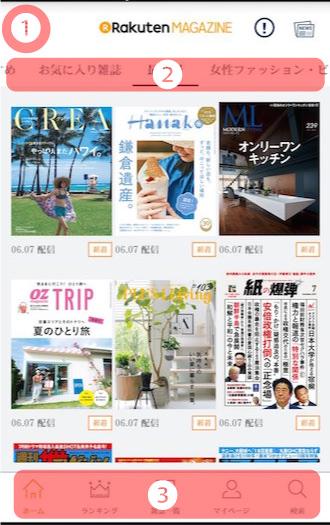 楽天マガジンのホーム画面の解説
